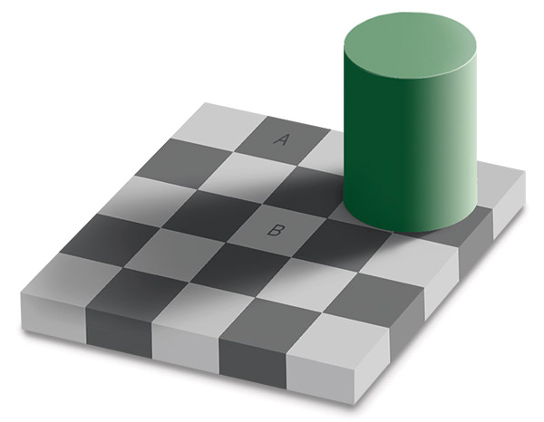 Does square A look darker than square B?
