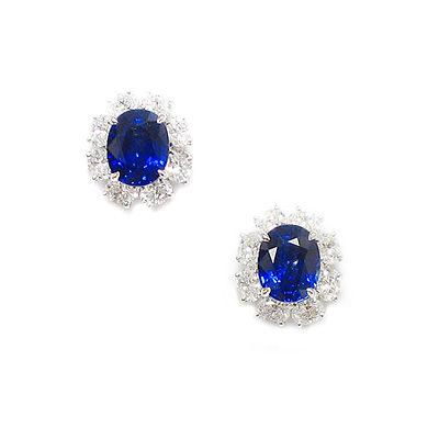 Blue Sapphire Diamond Earrings