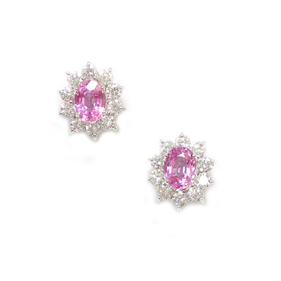 Pink Sapphire Diamond Earrings