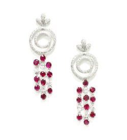 Ruby Dangle Diamond Earrings