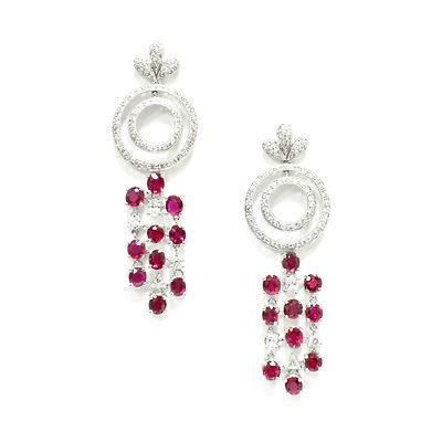 Ruby Dangle Diamond Earrings