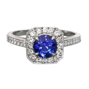 Blue Sapphire Halo Ring