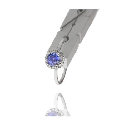 Round Blue Sapphire Halo Diamond Ring