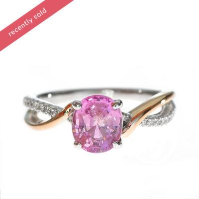 Mixed Gold Pink Sapphire Diamond Ring