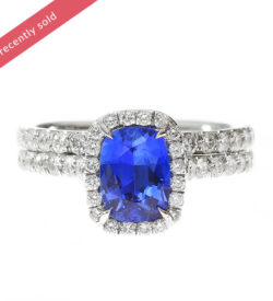 Blue Sapphire Halo Diamond Ring