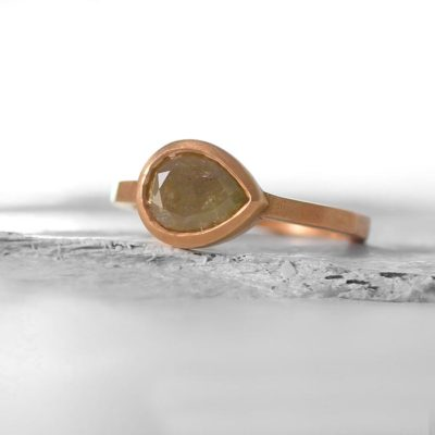 Rose Gold Rough Cut Diamond Ring