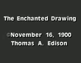 Screenshots from the 1900 American Vitagraph cartoon The Enchanted Drawing