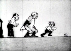 Screenshots from the 1915 Bray Studios cartoon Colonel Heeza Liar At the Bat