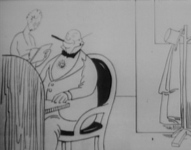 Screenshots from the 1915 International Film Service cartoon Phable of a Busted Romance