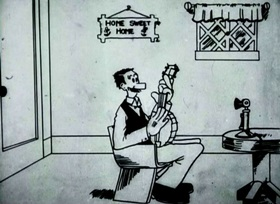 Screenshots from the 1916 Celebrated Players cartoon Domestic Difficulties