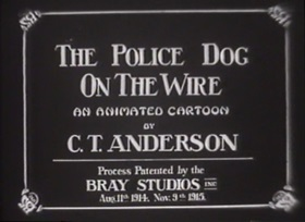 Screenshots from the 1916 Bray Studios cartoon The Police Dog on the Wire