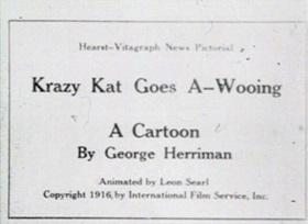 Screenshots from the 1916 International Film Service cartoon Krazy Kat Goes A-Wooing