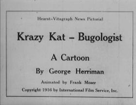 Screenshots from the 1916 International Film Service cartoon Krazy Kat, Bugologist