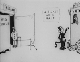 Screenshots from the 1916 International Film Service cartoon Krazy Kat and Ignatz Mouse at the Circus