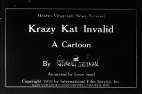 Screenshots from the 1916 International Film Service cartoon Krazy Kat Invalid