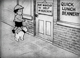 Screenshots from the 1918 Bray Studios cartoon Bobby Bumps Puts a  Beanery on the Bum
