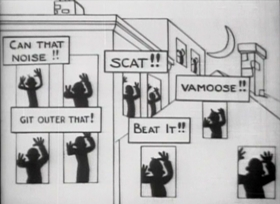 Screenshots from the 1919 Pat Powers Productions cartoon Feline Follies