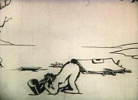 Screenshots from the 1921 Inkwell Studios cartoon Modeling