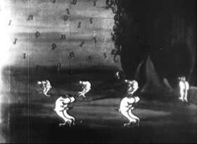 Screenshots from the 1922 Disney cartoon The Four Musicians of Bremen