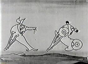 Screenshots from the 1924 Disney cartoon Alice