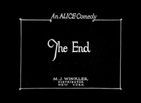 Screenshots from the 1924 Disney cartoon Alice Gets in Dutch