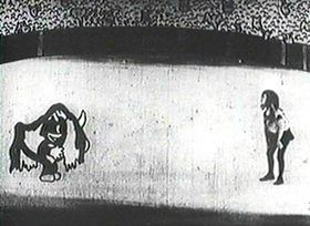 Screenshots from the 1925 Disney cartoon Alice the Toreador