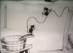 Screenshots from the 1925 Disney cartoon Alice Solves the Puzzle