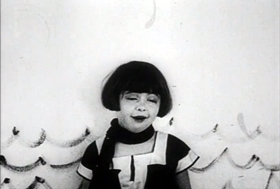 Screenshots from the 1925 Disney cartoon Alice Gets Stage Struck