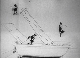 Screenshots from the 1925 Disney cartoon Alice Rattled by Rats