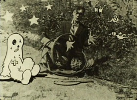 Screenshots from the 1925 Bray Studios cartoon Just Spooks