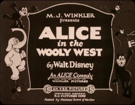 Screenshots from the 1926 Disney cartoon Alice in the Wooly West