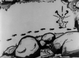 Screenshots from the 1927 Inkwell Studios cartoon Ko-Ko Back Tracks