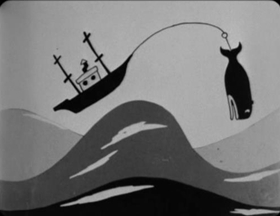 Screenshots from the 1927 Disney cartoon Alice the Whaler