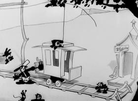 Screenshots from the 1927 Disney cartoon Trolley Troubles