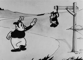 Screenshots from the 1927 Disney cartoon Oh, Teacher