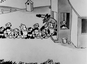 Screenshots from the 1927 Disney cartoon Oh, Teacher