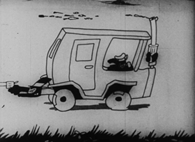 Screenshots from the 1927 Disney cartoon The Mechanical Cow