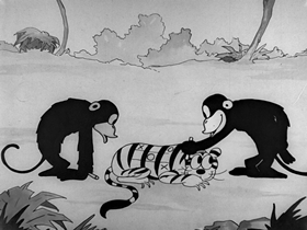 Screenshots from the 1928 Disney cartoon Africa Before Dark