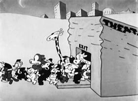 Screenshots from the 1928 Disney cartoon Bright Lights