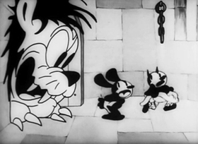 Screenshots from the 1928 Disney cartoon Oh, What a Knight