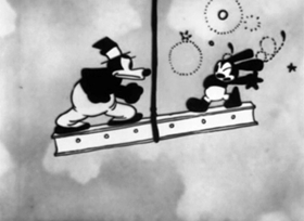 Screenshots from the 1928 Disney cartoon Sky Scrappers