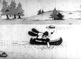 Screenshots from the 1928 Disney cartoon Tall Timber