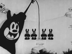 Screenshots from the 1928 Disney cartoon Poor Papa