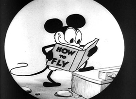 Screenshots from the 1928 Disney cartoon Plane Crazy