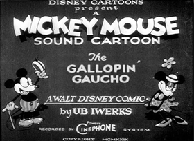 Screenshots from the 1928 Disney cartoon The Gallopin