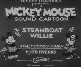 Screenshots from the 1928 Disney cartoon Steamboat Willie