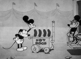 Screenshots from the 1929 Disney cartoon The Karnival Kid