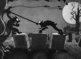Screenshots from the 1929 Disney cartoon The Skeleton Dance