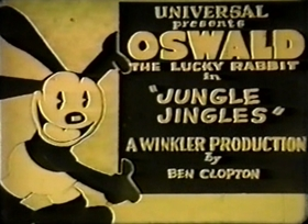 Screenshots from the 1929 Winkler Pictures cartoon Jungle Jingles