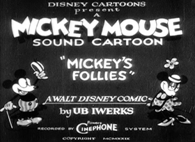 Screenshots from the 1929 Disney cartoon Mickey